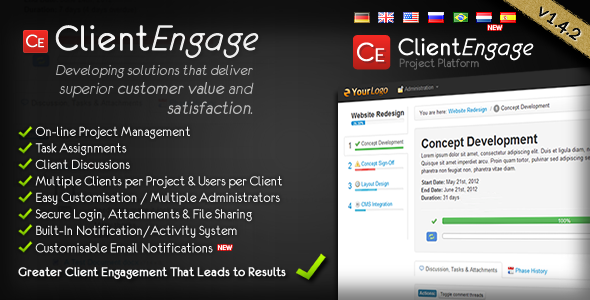 CtientEngage Prqe ko,. Konsepto Development ClientEngage solusyon na deiver halaga superior customer at kasiyahan. Project Manaememt Task Assnrnents Client Discussions Mtiple Kliyente per Users Project per Qielit Easy Customization MiAtipte Administrators Secure Login. Attachment Pagbabahagi ng File System Customisable Email Notifications Greater Client Eriaement Iyon Leads Resulta 1.4