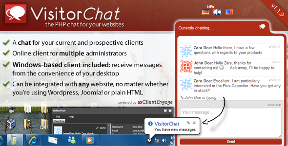 VisitorChat the PHP chat for your websites chat for your current and prospective clients Online client for multiple administrators dient receive messages from the convenience your desktop Can integrated with any website, matter whether using Wordpress, Joomla! plain HTML powItd mcssa,I FOVs.tohat Send chaig. Zeta h4o thet., hate questiows with regwis yowi John hello Zeta cwating Ask away flI happy the F1at you qut Do.